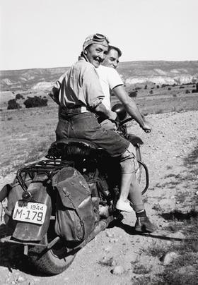 Georgia O'Keeffe on the back of a motorcycle in a photo titled, ''Women Who Rode Away.'' (Photo: Maria Chabot)