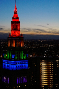 Cleveland's Terminal Tower, viewed from Public Square, was lit up with the rainbow colors earlier this year to promote Gay Games 9 in 2014. (Photo: Larry E. Highbaugh, Jr.)