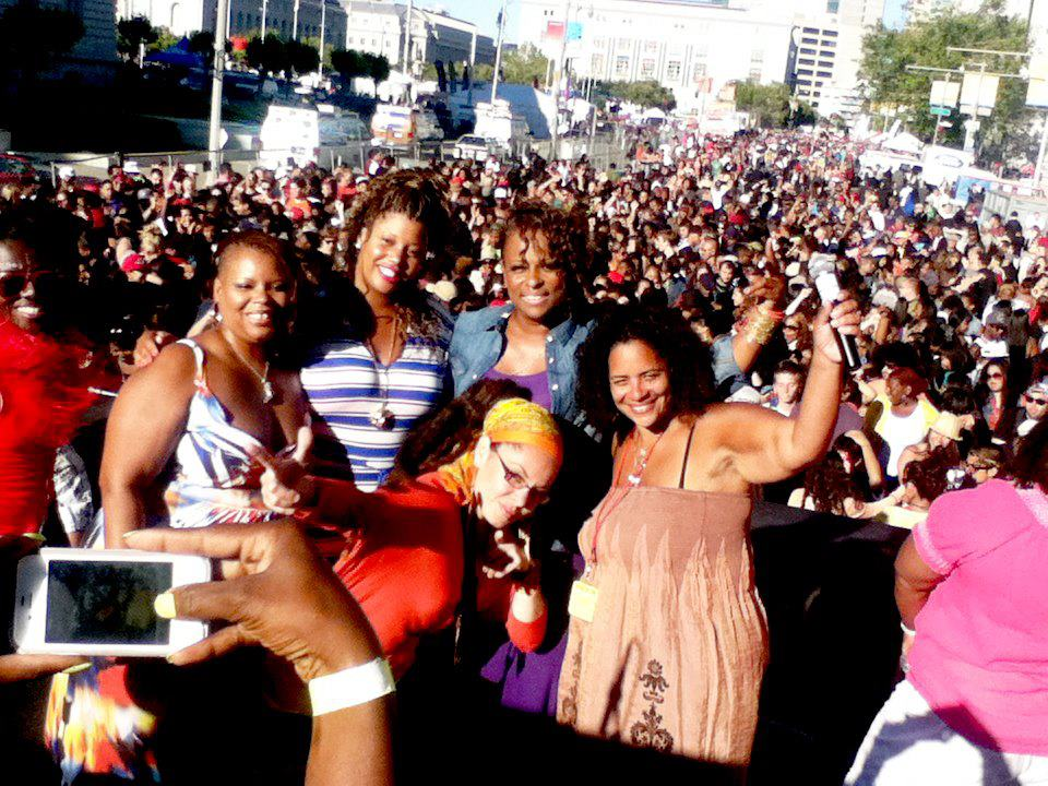 Christiana Remington, far right, director of the Womyn's Stage at Oakland Pride (Photo: Courtesy of the Womyn's Stage at Oakland Pride)