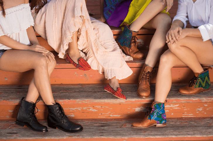The Teysha family showing off their shoes and enjoying the sun on a ranch near Austin, TX. (Photo: Dennis Burnett)