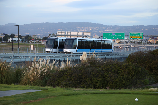 """New """"BART to OAK"""" trains connecting travelers to Oakland International Airport will be like """"gliding through the air"""" with 360 views during the under 10 minute ride."""