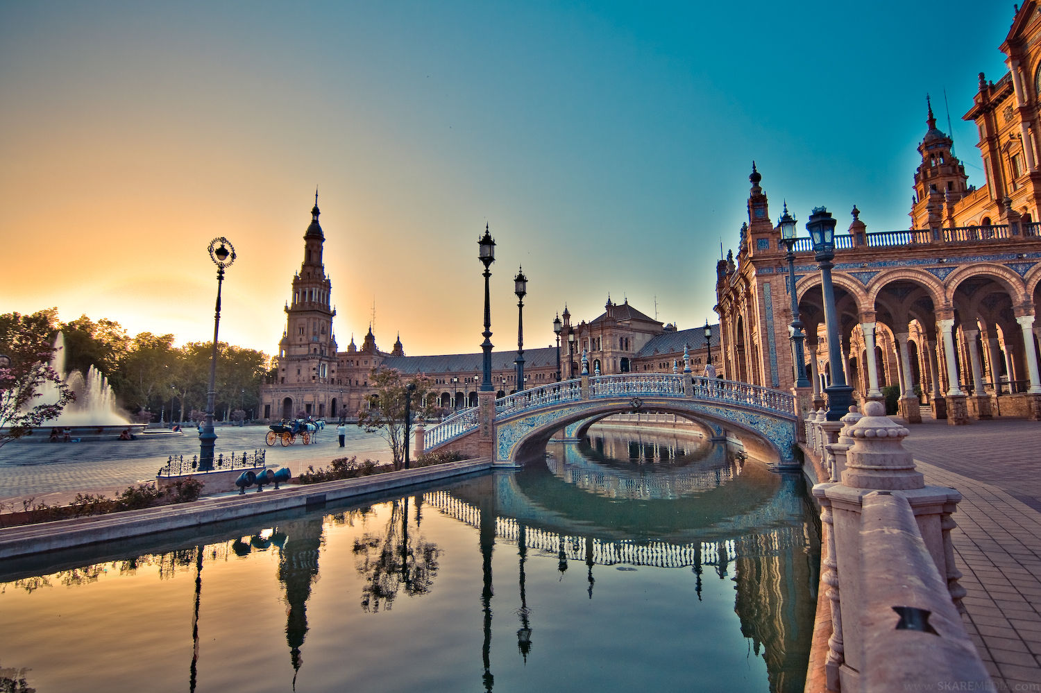 The Plaza de España located in the Parque de María Luisa in Seville, Spain. It is a landmark example of the Renaissance Revival style in Spanish architecture built in 1928 for the Ibero-American Exposition of 1929. (Photo: ThousandWonders.net)