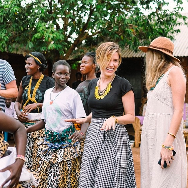 Actress Sophia Anna Bush dancing with the women of Gulu town in Northern Uganda. (Photo: Courtesy of Sophia Anna Bush's Instagram)