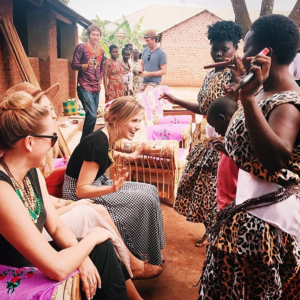 The women of Gulu town greet actress Sophia Anna Bush with a welcome dance in Northern Uganda. (Photo: Courtesy of Sophia Anna Bush's Instagram)