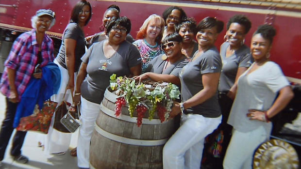 Head of the Sistahs on the Reading Edge book club Lisa Johnson, foreground, and book club members were all smiles before boarding the Napa Valley Wine Train to celebrate Sandra Jamerson's 63rd birthday and discuss Brenda Jackson's bestselling romance A Man's Promise. (Photo: Courtesy of Lisa Johnson)