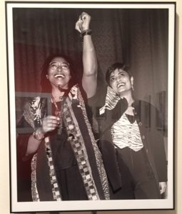 Jane's photo of Pulitzer Prize-winning author Alice Walker, author, with lesbian filmmaker Pratibha Parmar at the Vanguard Public Foundation in San Francisco, November 20, 1993. (Photo: Girls That Roam)