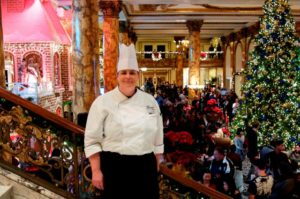Fairmont San Francisco Executive Pastry Chef Kimberly Tighe at the grand unveiling of the Giant Gingerbread House in 2014. (Photo: Courtesy of the Fairmont San Francisco)