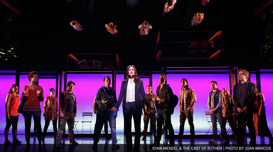 Tony award-winning Idina Menzel sings about redesigning the cityscape and streets of New York as much as her character, Elizabeth's, life in If/Then. (Photo: Joan Marcus)
