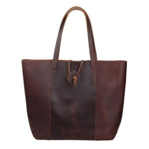 Polare Rustic Looking First Grain Cowhide Leather Tote Handbag Purse Everyday Bag