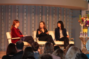 Julia Cosgrove, editor of AFAR Magzine, left; Paula Froelich, editor-in-chief of Yahoo! Travel, center; and Award-winning journalist Laura Ling, right, at the Women's Travel Fest 2015 in San Francisco, California. (Photo: Girls That Roam)