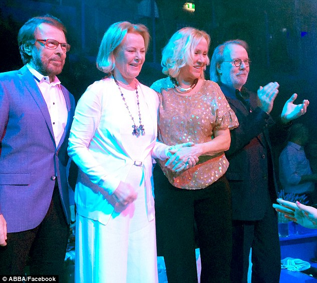 Reunited: (l-r) Björn Ulvaeus, Anni-Frid Lyngstad, Agnetha Fältskog and Benny Andersson as they are today at the opening of Mama Mia! The Party in Stockholm, Sweden on Wednesday, January 20, 2016. (Photo: ABBA/Facebook)