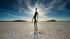 "Acclaimed British sculptor Sir Antony Gormley's permanent exhibit ""Inside Australia"" features 51 steel sculptures standing 6.2 miles (10 square kilometers) apart on the white plain of Lake Ballard in Western Australia. (Photo: www.cjhawkins.net)"