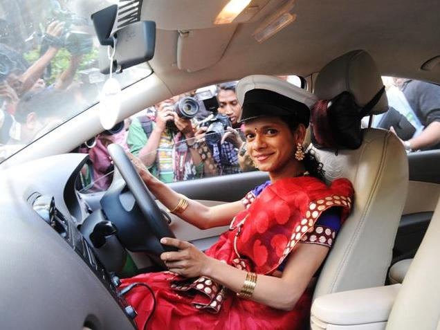 Sanjivani, a member of the LGBT community, at the launch of Wings Rainbow radio taxi service in Mumbai on Wednesday, January 20. (Photo: Vivek Bendre / The Hindu)