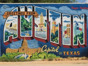 """Greetings from Austin"" postcard mural. (Photo: Super G)"