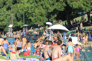 Austinites sunbathing on the lawn at Barton Springs in Austin, Texas. (Photo: Super G)