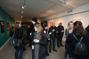 "Women gather at the opening reception of Photographer Anna Friemoth's ""Words for Women"" exhibit at Gallery 151 in New York, New York on February 4, 2016. (Photo: Courtesy of Gallery 151 / Anna Friemoth)"