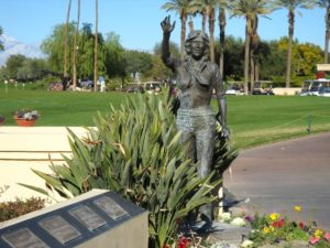 The statue of Dinah Shore honoring the Big Band era entertainer and TV personality who was an avid golfer and an advocate for professional women golfers. Dinah founded the LPGA women's golf tournament at the Mission Hills Golf Club in 1972. Tournament winner's plaques are placed before the statue in chronological order. (Photo: Super G)