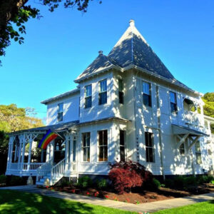 Roux Bed and Breakfast with the Rainbow Flag flying high greeting guests in Provincetown, Massachusetts. (Photo: Courtesy of Roux Bed and Breakfast)