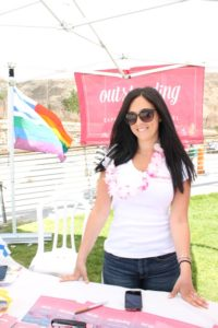 Jessica Sasportas, an ally tour operator at OUTstanding Travel, gets into the spirit at Hilton Beach during Tel Aviv Pride Week 2015. (Photo: Super G)