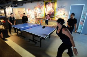 SPiN San Francisco staff gets competitive with a game of pingpong. (Photo: Rick Gerharter)