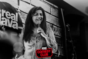 Comedian Mona Shaikh performing at the Comedy Club.
