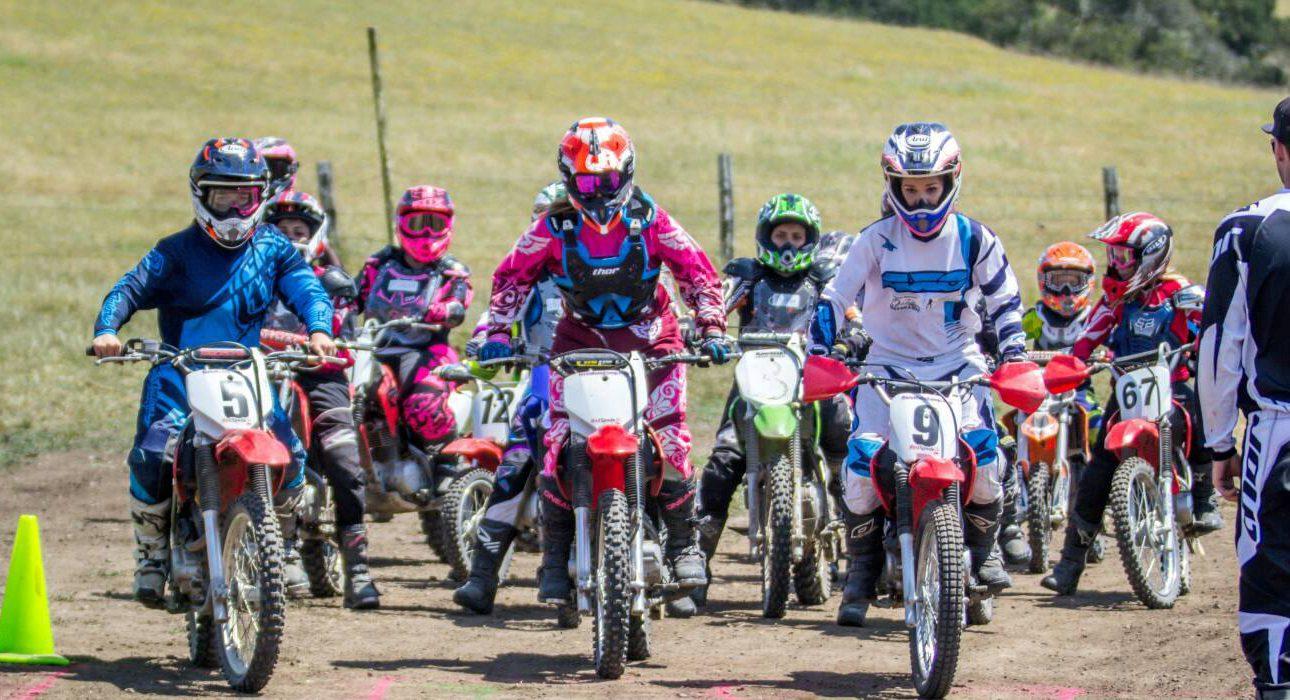 Girls motor race at She'z Moto Camp in Petaluma, California. (Photo: Courtesy of She'z Moto Camp)