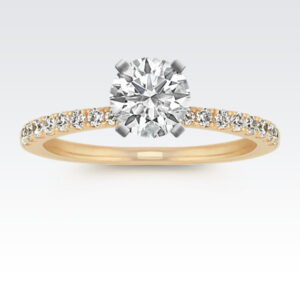Diamond Engagement Ring with Pavé Setting in 14k Yellow Gold (Photo: Shane Co.)