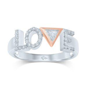 "Love and Pride™ 1/5 CT. T.W. Diamond ""LOVE"" Anniversary Ring in 10K Two-Tone Gold"