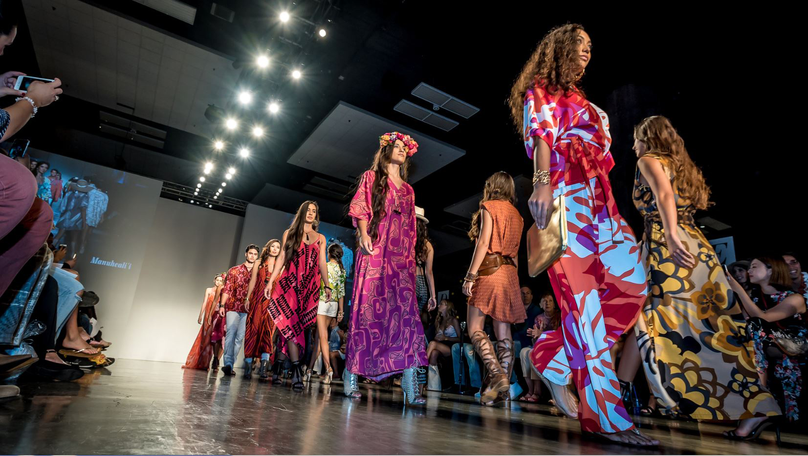 Models walk the runway in Hawaiian style at the HONOLULU Magazine Fashion Week 2015 Manuhealii Fashion Show. (Photo: Courtesy of Honolulu Fashion Week / Ross D. Hamamura)
