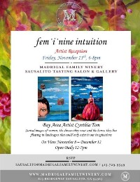 """Madrigal Family Winery's Sausalito Tasting Gallery Continues Bay Area California Artist Series with """"fem·i·nine intuition"""" by Surrealist Cynthia Tom"""