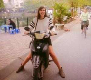 World traveler Catherine Johannet scootering around Vietnam. (Photo: Courtesy of Facebook)