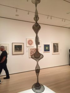 "Ruth Asawa's ""Untitled c. 1955,"" brass wire, iron wire, and galvanized iron wire at the ""Making Space: Women Artists and Postwar Abstraction"" at the Museum of Modern Art in New York. (Photo: Heather Cassell)"