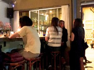 Patrons gather at the small bar that welcomes them to Joz ve Los in Tel Aviv, Israel. (Photo: Super G)