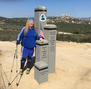 Stacey at the end of her trek on the Pacific Crest Trail in September.(Photo: Courtesy of Daily Mail)