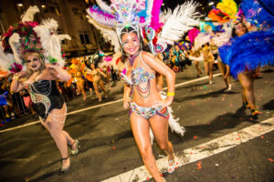 Showgirls march in the Sydney Gay and Lesbian Mardi Gras parade. Jeffrey Feng