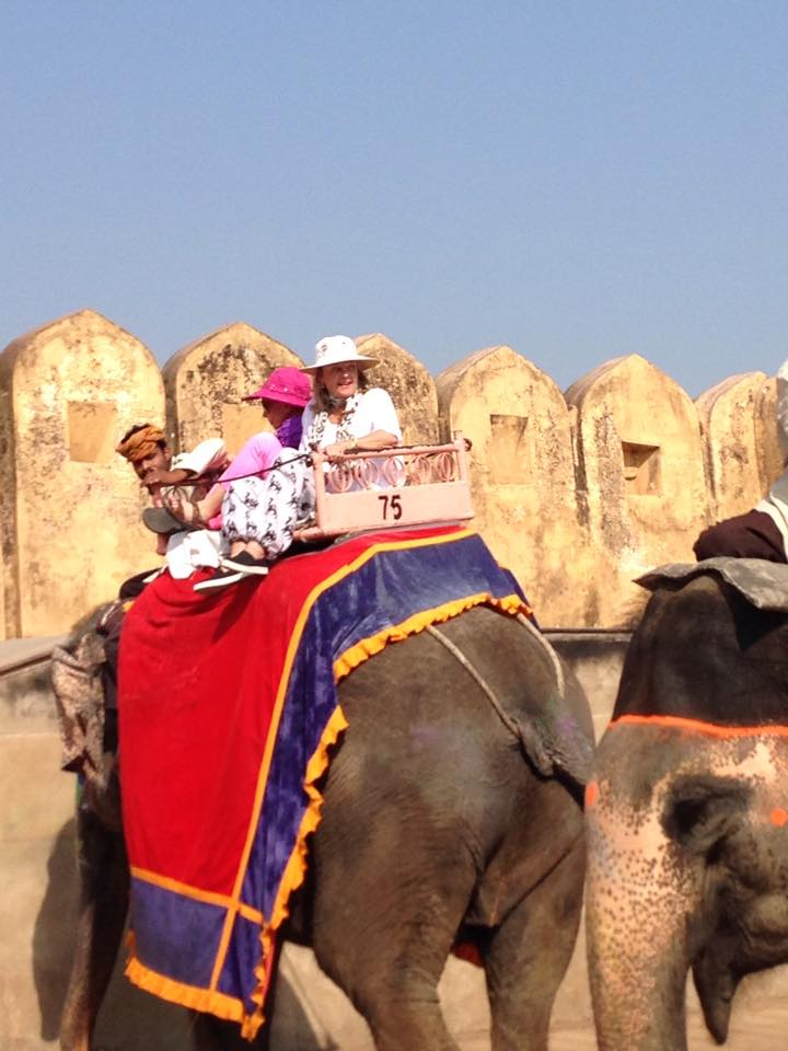 Guests of the Women's Travel Group take an elephant ride in India.